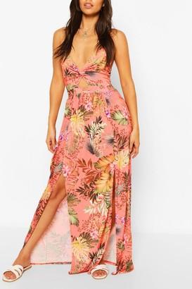 boohoo Petite Twist Front Tropical Print Maxi Dress