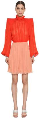 Nina Ricci Silk Chiffon Dress W/ Crystal Cuffs