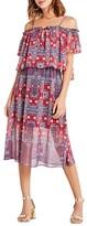 BCBGeneration Persian Print Off-The-Shoulder Midi Dress