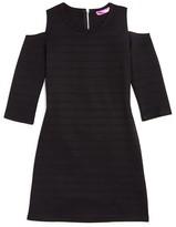 Aqua Girls' Stitched Cold Shoulder Knit Dress - Sizes S-XL