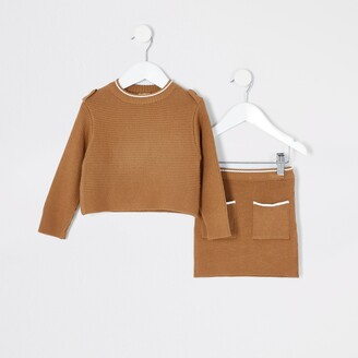 River Island Mini girls Brown knitted skirt outfit
