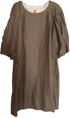 HUGO BOSS Green Linen Dress for Women