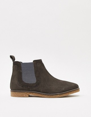 Silver Street leather faux crepe chelsea boot in grey