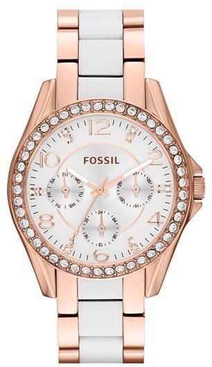 Fossil 'Riley' Crystal Bezel Resin Link Bracelet Watch, 38mm