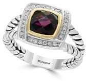 Effy Diamond, Garnet, Sterling Silver and 18K Gold Ring
