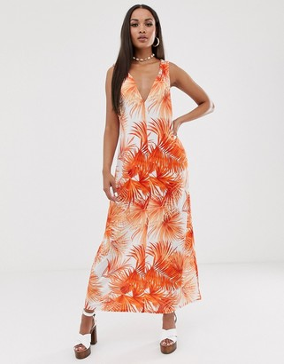 Asos Design DESIGN low back maxi dress in palm print-Multi