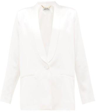 Adriana Iglesias Boyfriend Single-breasted Silk-satin Faille Blazer - White