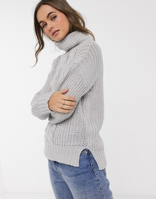 Brave Soul poppy cable knit roll neck jumper in grey
