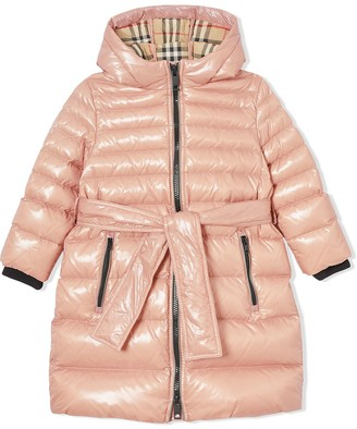 BURBERRY KIDS TEEN padded belted coat