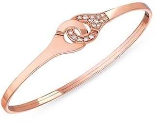 Dinh Van Menottes Diamond 18K Rose Gold Inerlocking Bangle