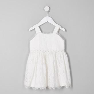 River Island Mini girls white lace flower girl dress