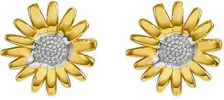 Polished Two-Tone Daisy Stud Earrings, 14K Gold