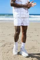 BoohoomanBoohooMAN Mens White MAN Square Print Mid Length Swim Short, White