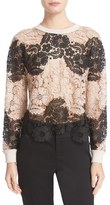 Alice + Olivia 'Jesse' Lace Front Crewneck Sweater