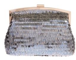 La Regale Navy Pin Stripe Sequin Pouch Clutch