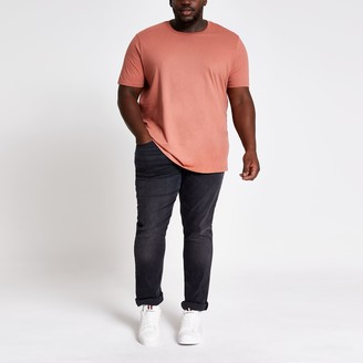 River Island Mens Big and Tall light Brown slim fit T-shirt