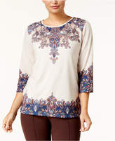 Alfred Dunner Petite Scroll-Print Top