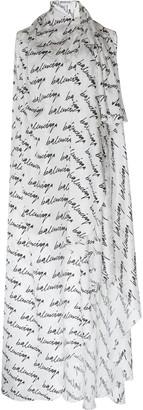 Balenciaga Stola Printed Draped Silk Maxi Dress