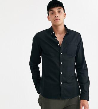 Asos DESIGN Tall stretch slim denim shirt in black