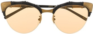 Gucci Bamboo-Effect Oval-Frame Sunglasses