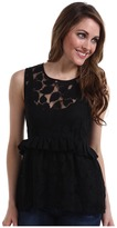 Karen Kane Peplum Floral Cotton Lace Top (Black) - Apparel
