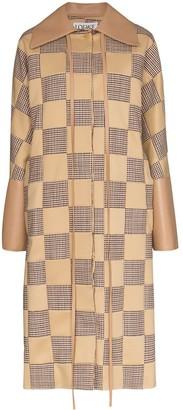 Loewe Check Pattern Cocoon Style Coat