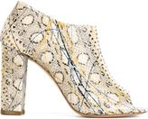 Jean-Michel Cazabat snakeskin effect open toe booties