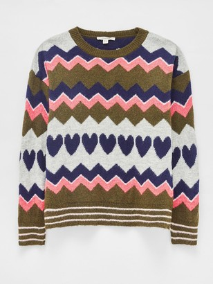 White Stuff Slumber Heart Jumper - Khaki