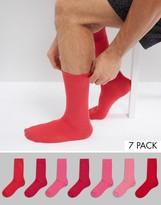 Asos Socks 7 Pack In Pink