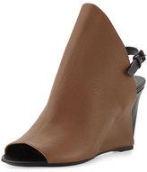 Balenciaga Open-Toe Slingback Wedge Sandal, Brown