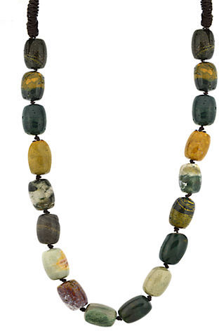 Lord & Taylor Multi-Earth Tone Barrel Bead Necklace