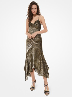 Michael Kors Leopard Metallic Fil Coupe Handkerchief Slip Dress