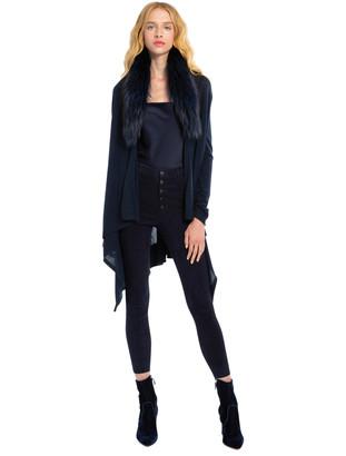 Alice + Olivia Izzy Fur Shawl Collar Sweater