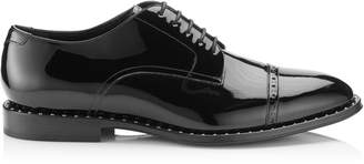 Jimmy Choo PENN Black Patent Lace Up Shoes with Steel Stud Detail