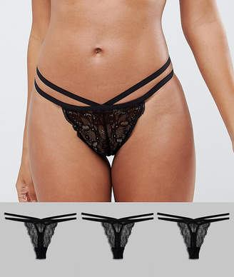 Asos Design DESIGN 3 Pack Double Strap Thongs