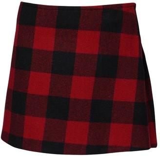 DSQUARED2 Check Wool Mini Skirt W/ Back Pleats