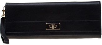 Givenchy Black/Gold Metallic Leather Shark Tooth Long Wristlet Clutch