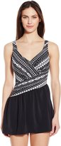Maxine Of Hollywood Women's Shangri La Ikat Asymmetrical Swim Dress One Piece Swimsuit