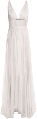 Maria Lucia Hohan Sage Crystal-embellished Gathered Silk-crepon Gown