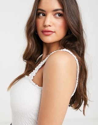 New Look shirred cami in white