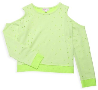 Design History Little Girl's & Girl's Cold Shoulder Cropped Sweater
