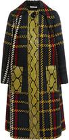 Miu Miu Python-paneled plaid bouclé-tweed coat