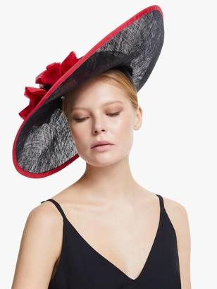 Snoxells Lara Wide Disc Flower Applique Occasion Hat, Black/Red