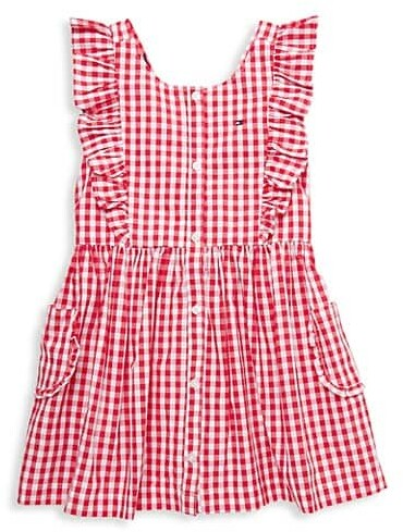 Red and white checkered dress for girls Gingham baby dress for summer Girls church dress with bow Plaid adjustable dress CandydresShop