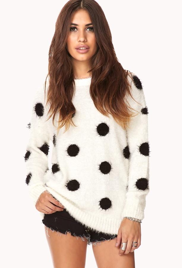 Forever 21 Cozy Polka Dot Shag Sweater