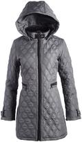 Weatherproof Smoke Gray Faux Leather-Accent Quilted Coat