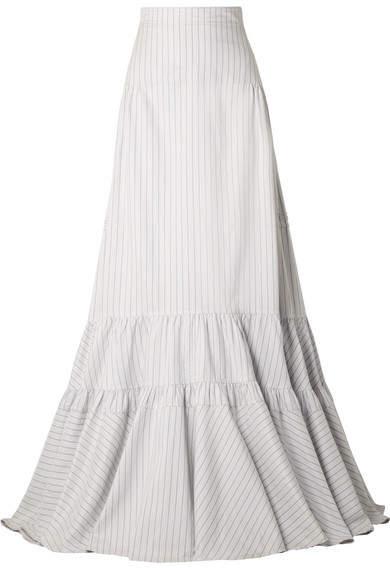 Calvin Klein Tiered Striped Silk And Cotton-blend Maxi Skirt - White