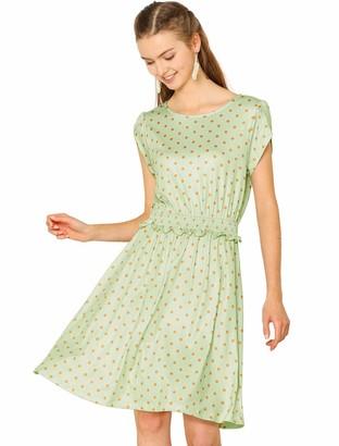 Allegra K Women's Polka Dots Petal Sleeve Round Neck A-Line Smocked Waist Dress Green M