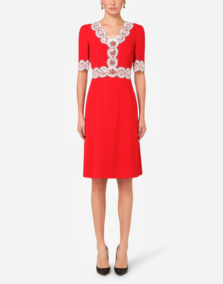 Dolce & Gabbana Cady Midi Dress With Lace Detailing