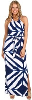 Muse Watercolor Halter Maxi Dress (Blue Multi) - Apparel